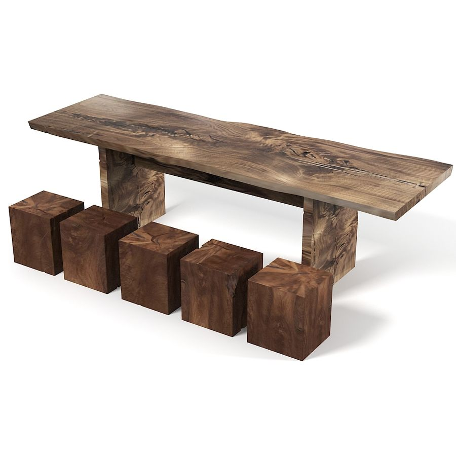 Rustic One Of A Kind Natural Teak Wood Slab Coffee Table: Hudson Furniture Rustic Teak Wood Dining Table And Cube