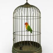 Klatka dla ptaków z ptakiem 3d model