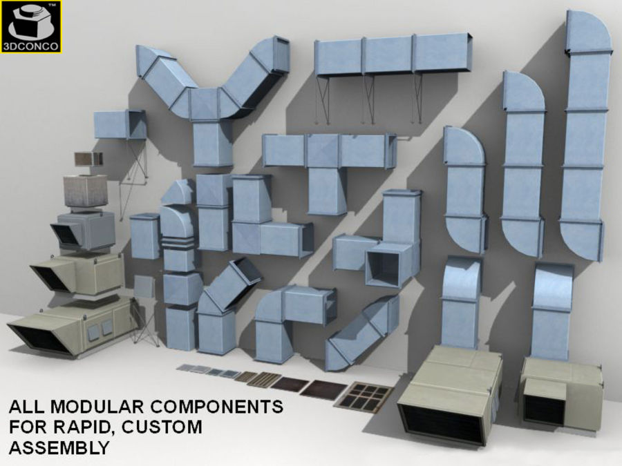HVAC Ductwork & Air Units Kit 1 royalty-free 3d model - Preview no. 4