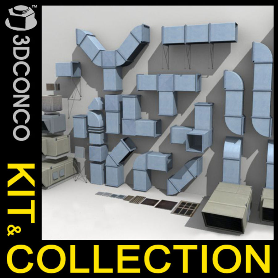 HVAC Ductwork & Air Units Kit 1 royalty-free 3d model - Preview no. 1
