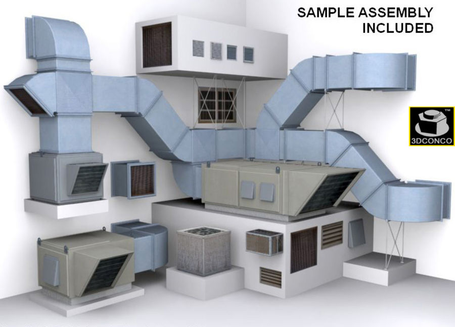 HVAC Ductwork & Air Units Kit 1 royalty-free 3d model - Preview no. 2