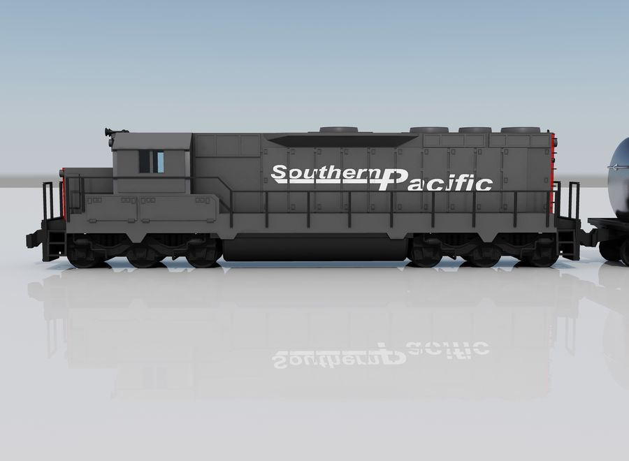 Freight Train 2 royalty-free 3d model - Preview no. 4