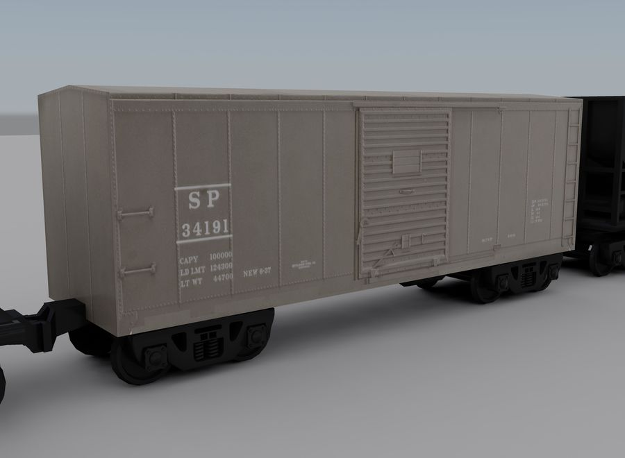 Freight Train 2 royalty-free 3d model - Preview no. 10
