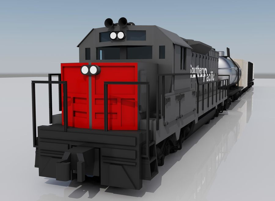 Freight Train 2 royalty-free 3d model - Preview no. 1