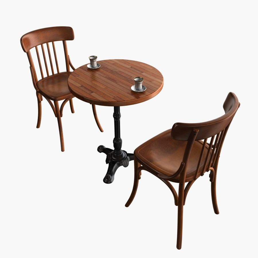 Table And Chair For Cafe 2 royalty-free 3d model - Preview no. 3