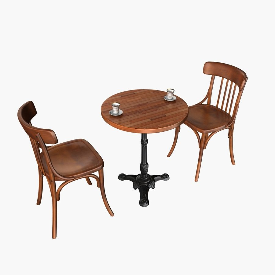 Table And Chair For Cafe 2 royalty-free 3d model - Preview no. 2