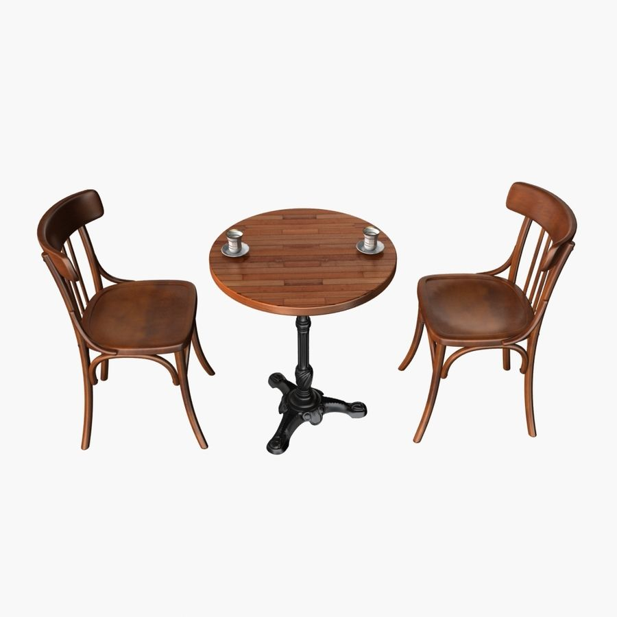 Table And Chair For Cafe 2 royalty-free 3d model - Preview no. 1