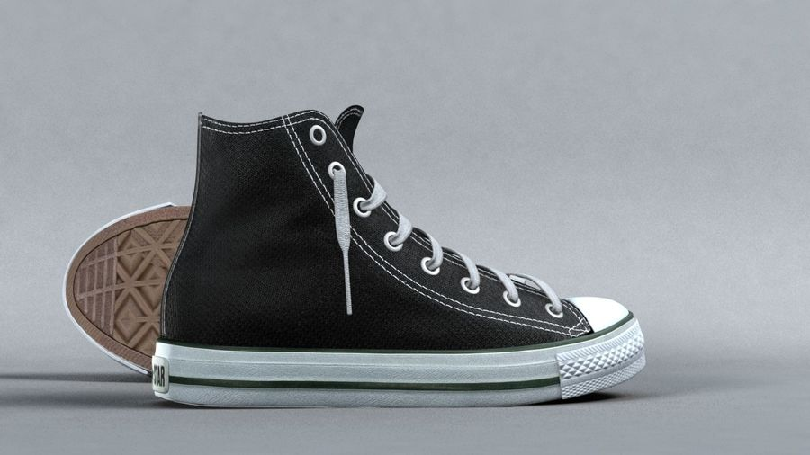 3d sneakers. Shoe converse royalty-free 3d model - Preview no. 2