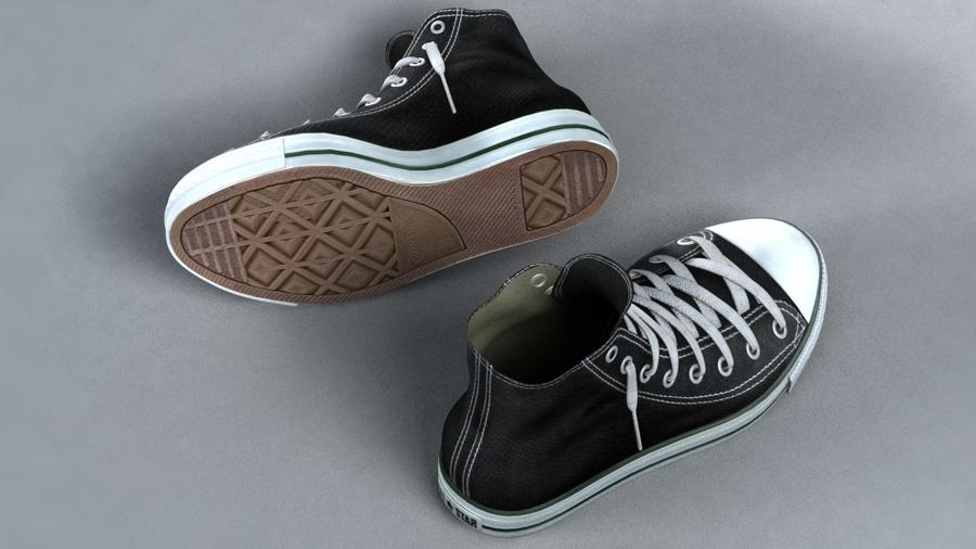 3d sneakers. Shoe converse royalty-free 3d model - Preview no. 4