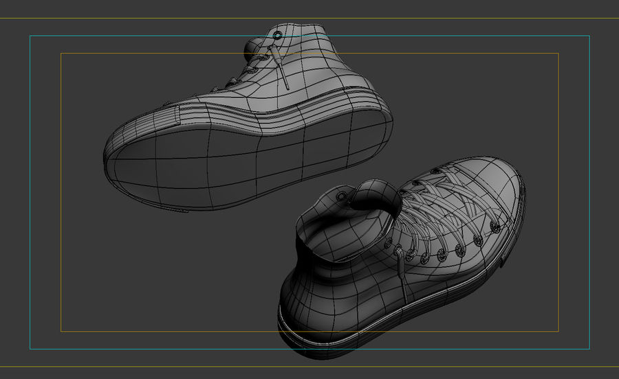 3d sneakers. Shoe converse royalty-free 3d model - Preview no. 7
