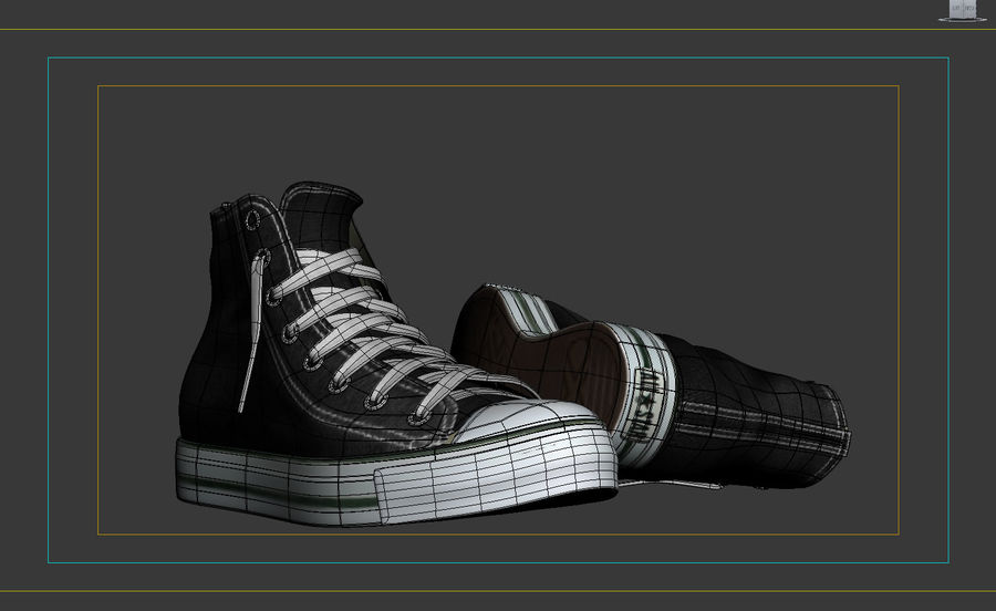 3d sneakers. Shoe converse royalty-free 3d model - Preview no. 10