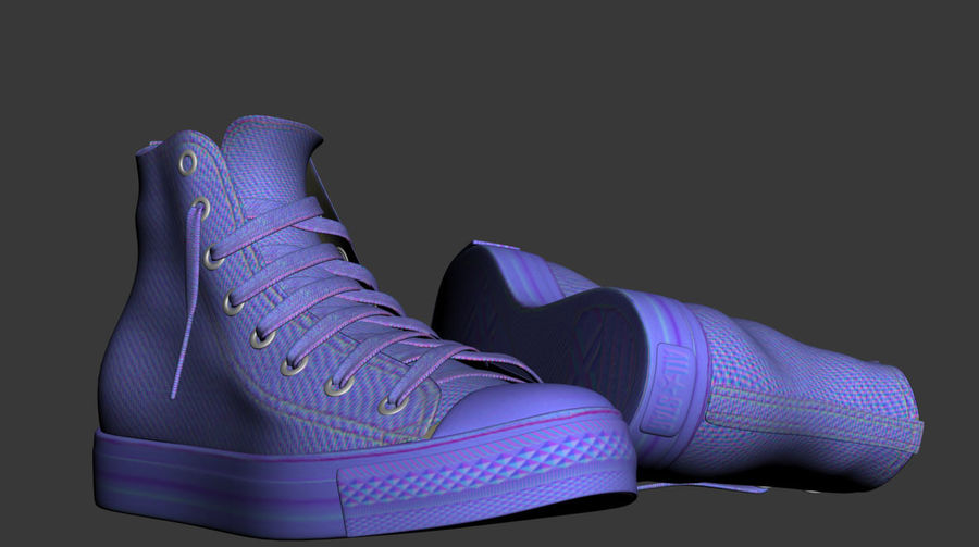 3d sneakers. Shoe converse royalty-free 3d model - Preview no. 6