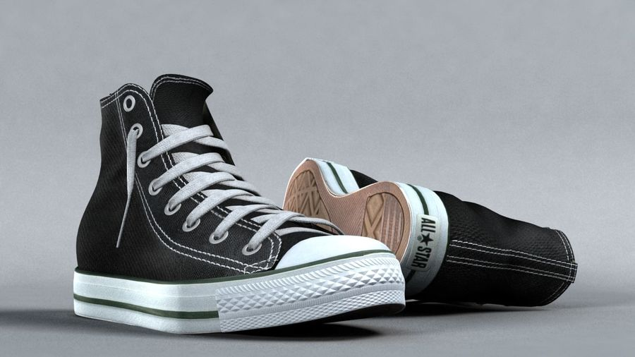 3d sneakers. Shoe converse royalty-free 3d model - Preview no. 1