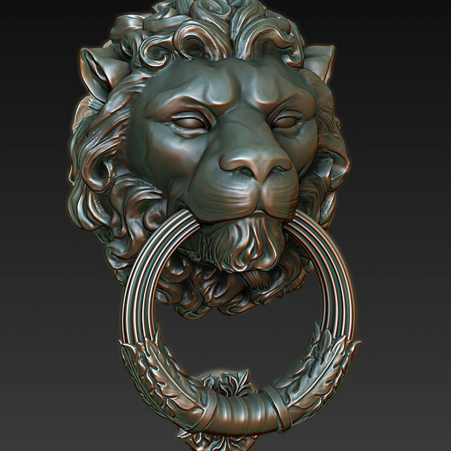 Door Knocker Lion Head Royalty Free 3d Model   Preview No. 1