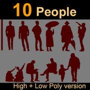 10 mänskliga silhuetter 3d model