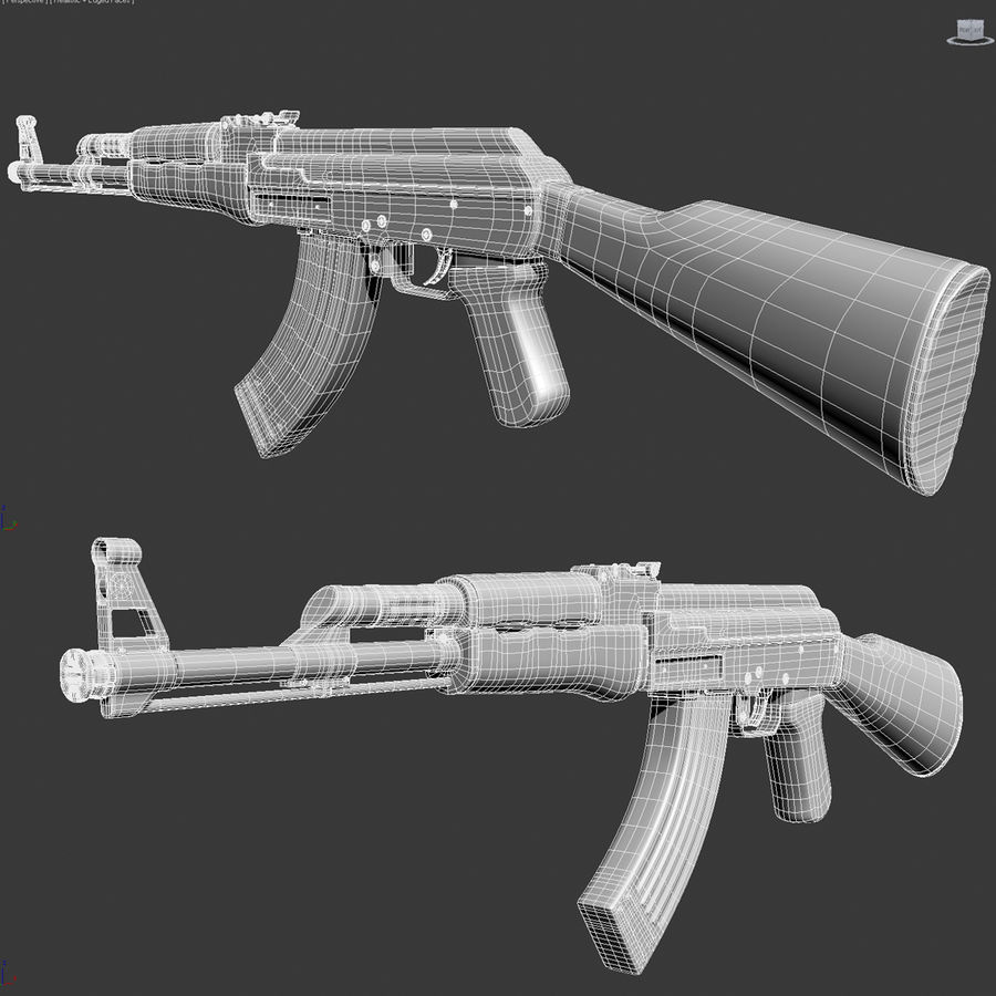 枪AK 47 royalty-free 3d model - Preview no. 9