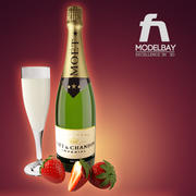 Champagne and strawberries 3d model