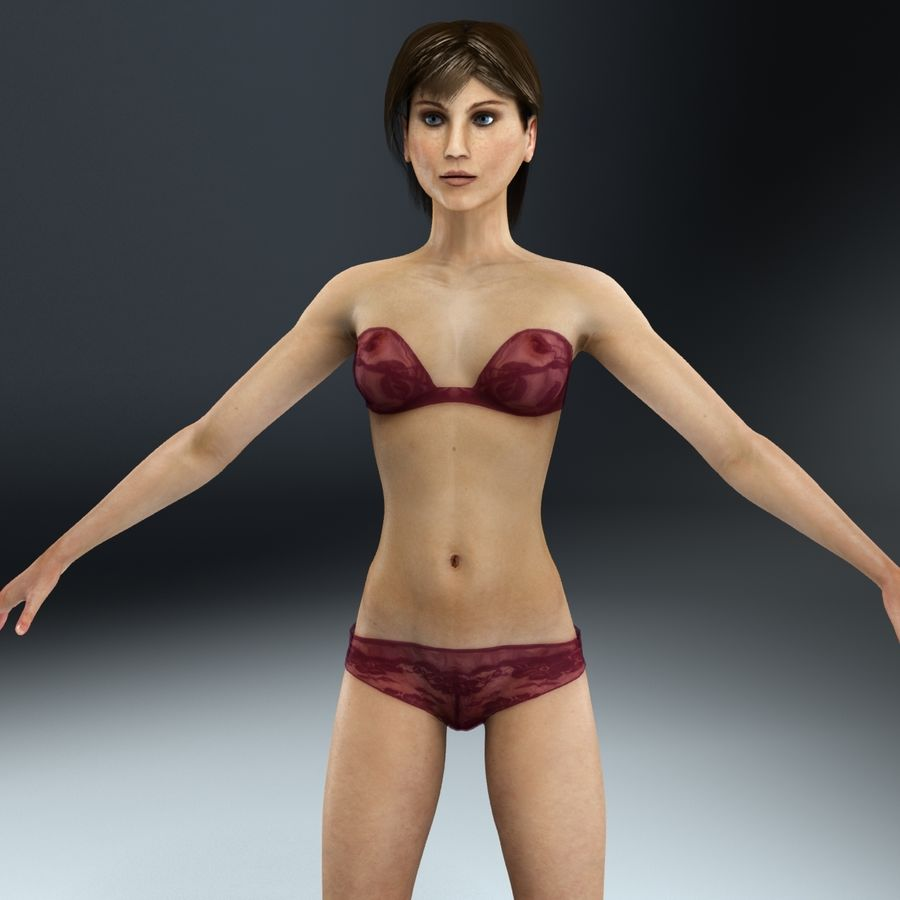 Kvinna Anatomi Slim royalty-free 3d model - Preview no. 7