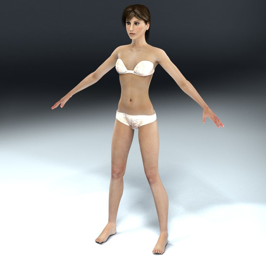 Kvinna Anatomi Slim royalty-free 3d model - Preview no. 4