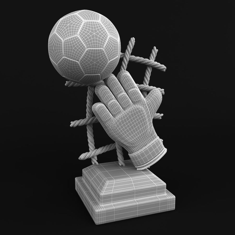 Football Trophy royalty-free 3d model - Preview no. 9