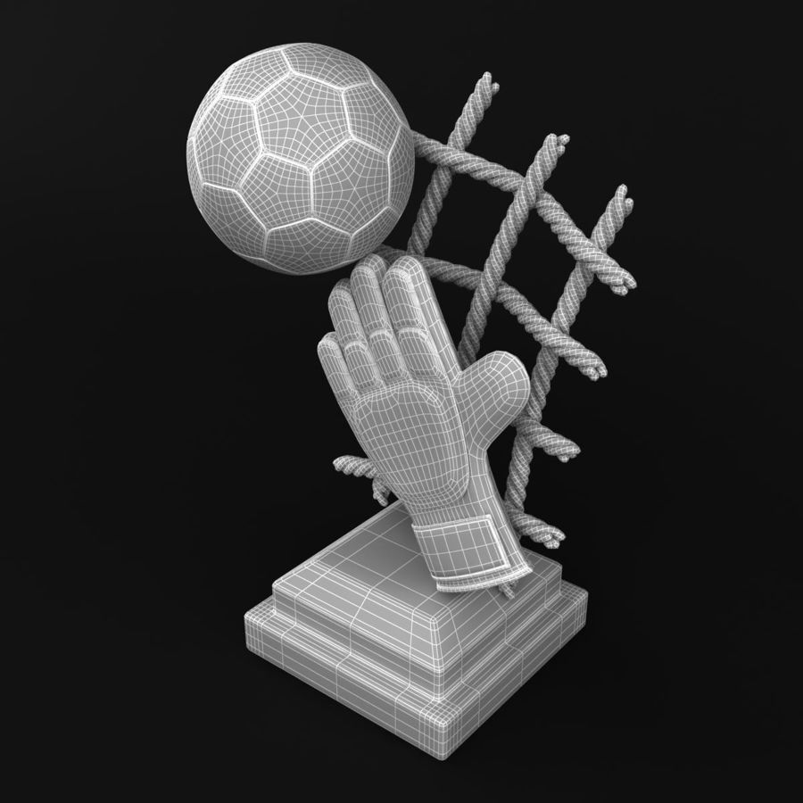 Football Trophy royalty-free 3d model - Preview no. 10