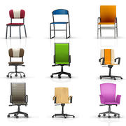 Office chairs collection 3d model