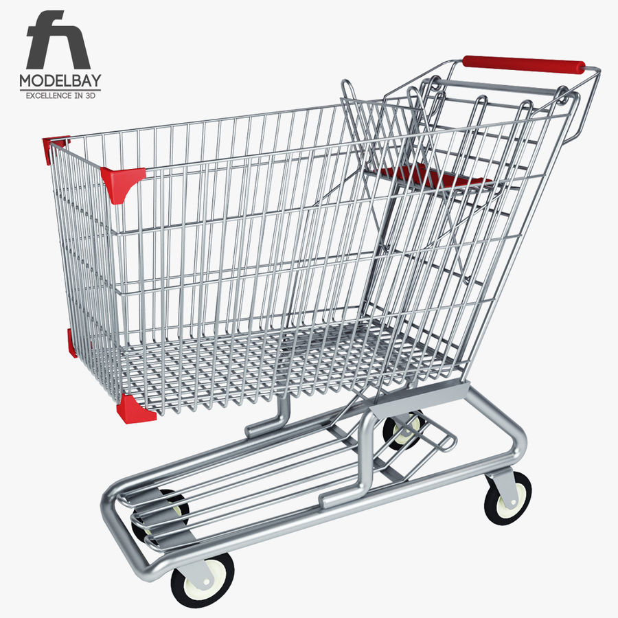 Supermarket shopping cart royalty-free 3d model - Preview no. 3