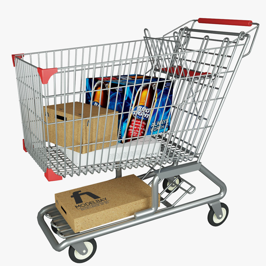 Supermarket shopping cart royalty-free 3d model - Preview no. 1