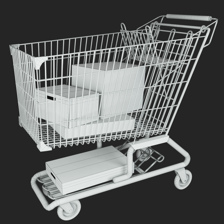 Supermarket kundvagn royalty-free 3d model - Preview no. 6