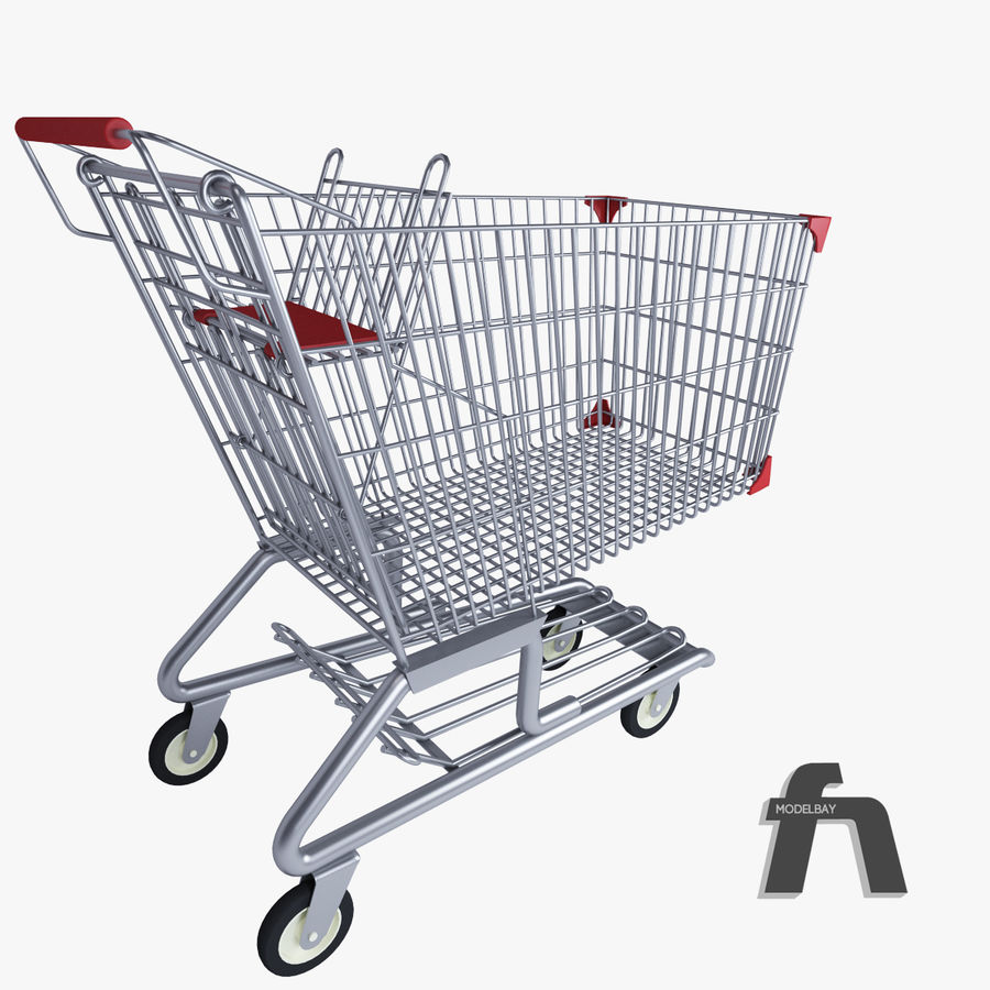 Supermarket kundvagn royalty-free 3d model - Preview no. 5