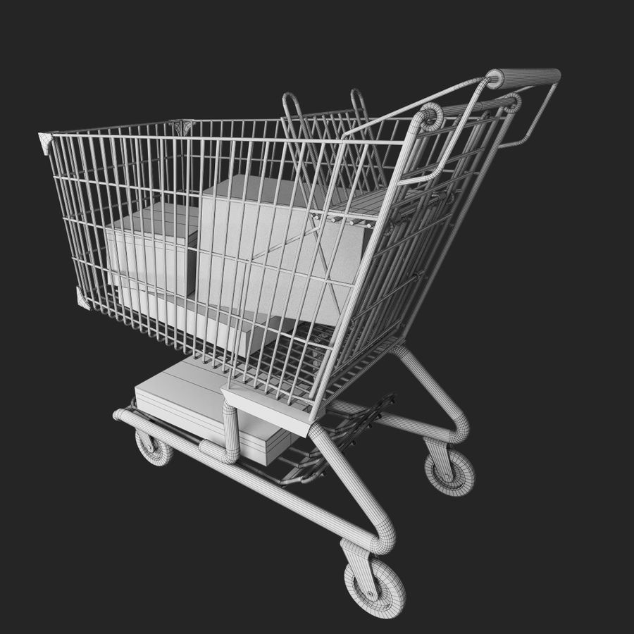 Supermarket kundvagn royalty-free 3d model - Preview no. 7