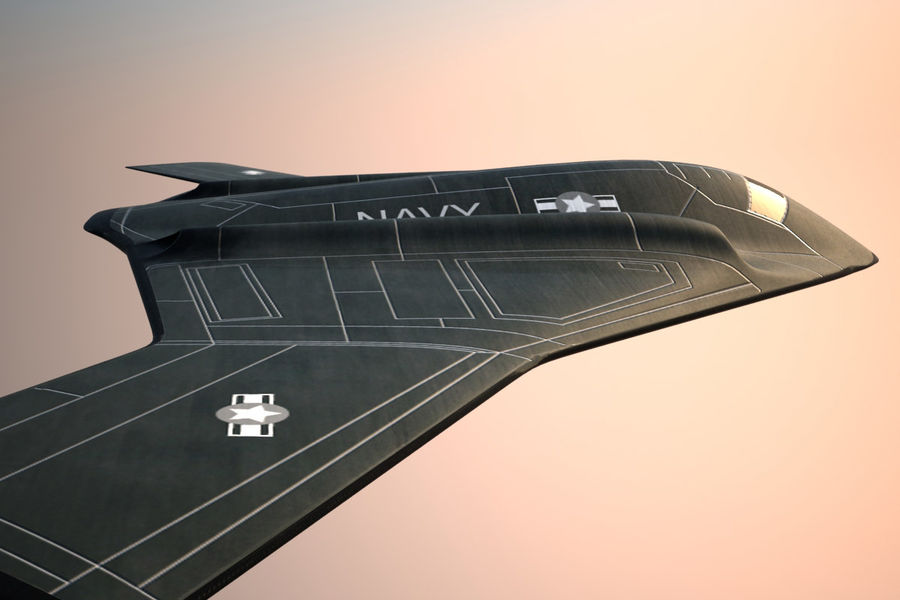 Bomber stealth low poly royalty-free 3d model - Preview no. 3