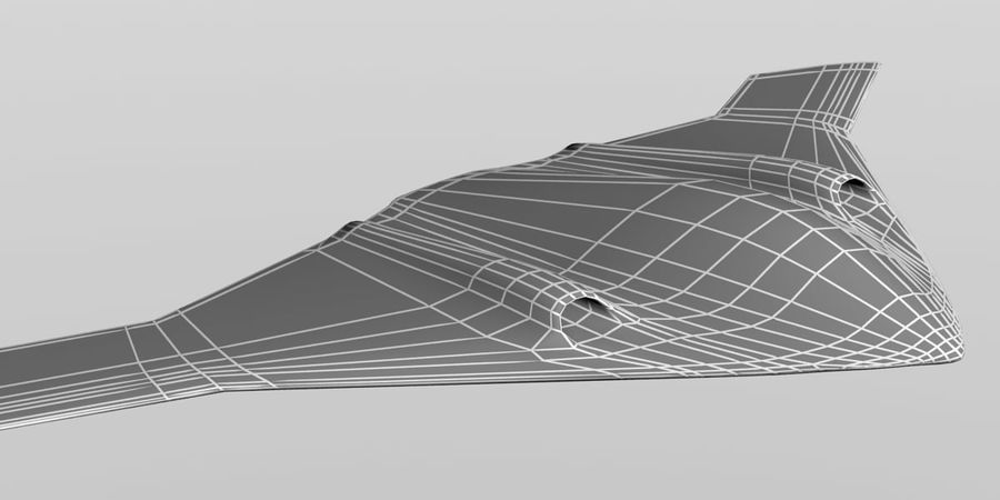 Bomber stealth low poly royalty-free 3d model - Preview no. 20