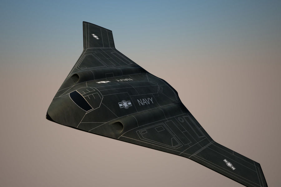Bomber stealth low poly royalty-free 3d model - Preview no. 8