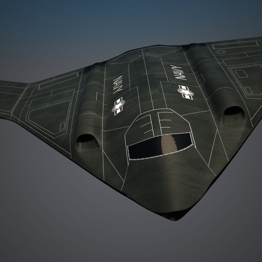 Bomber stealth low poly royalty-free 3d model - Preview no. 2