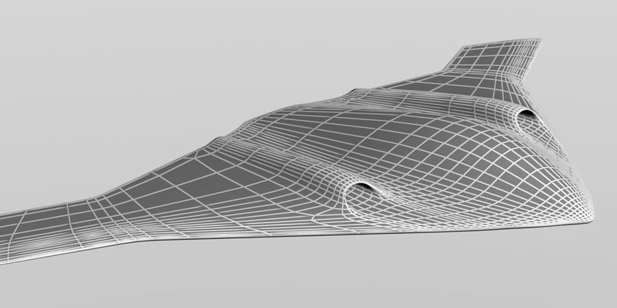 Bomber stealth low poly royalty-free 3d model - Preview no. 21