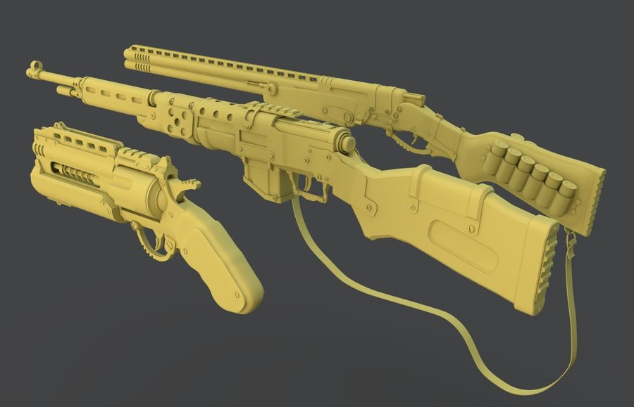 weapons pack royalty-free 3d model - Preview no. 4