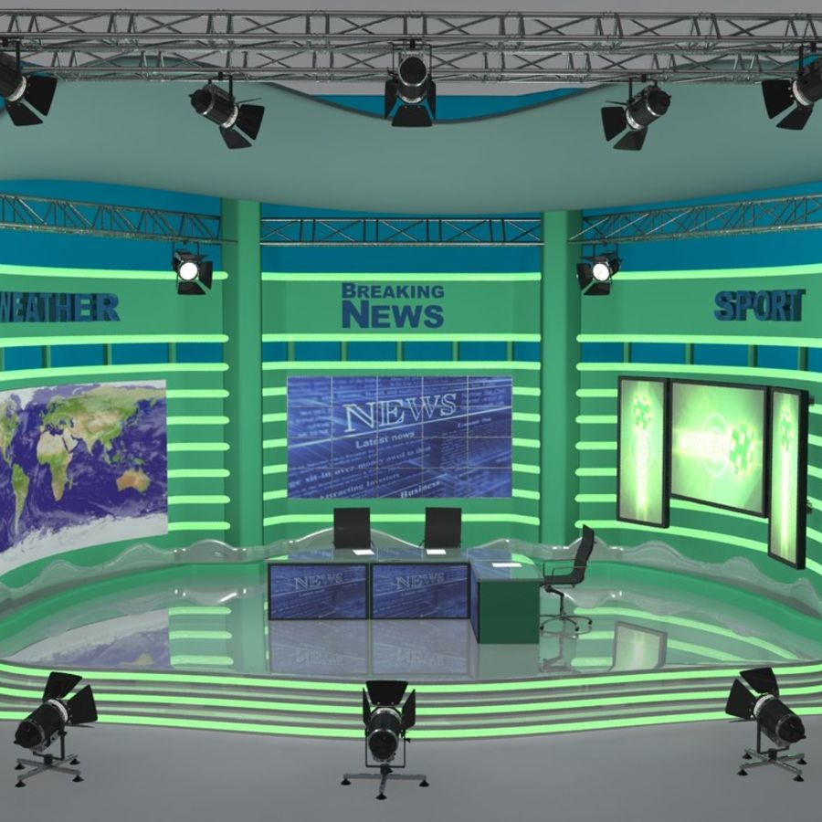 TV SET royalty-free 3d model - Preview no. 1