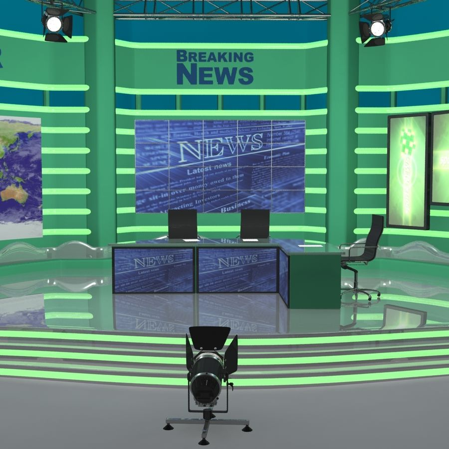 TV SET royalty-free 3d model - Preview no. 2