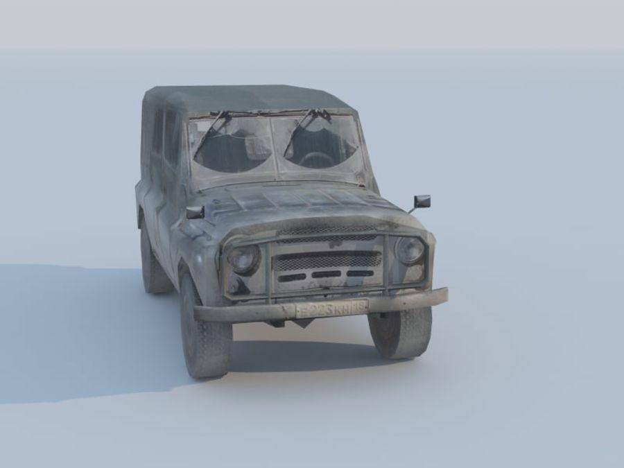 3d UAZ militaire jeep low-poly royalty-free 3d model - Preview no. 4