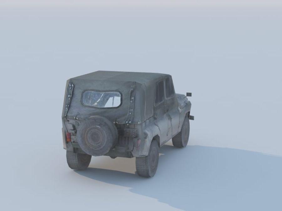 3d UAZ militaire jeep low-poly royalty-free 3d model - Preview no. 5