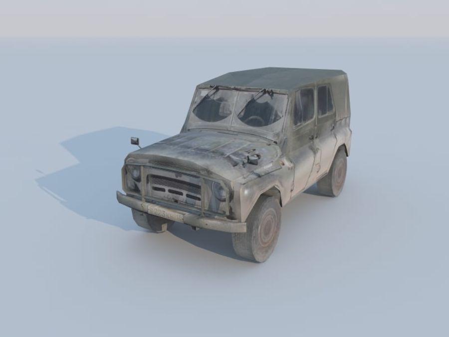 3d UAZ militaire jeep low-poly royalty-free 3d model - Preview no. 1