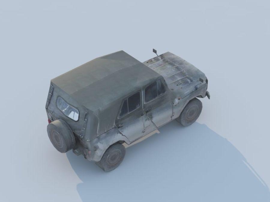 3d UAZ militaire jeep low-poly royalty-free 3d model - Preview no. 3
