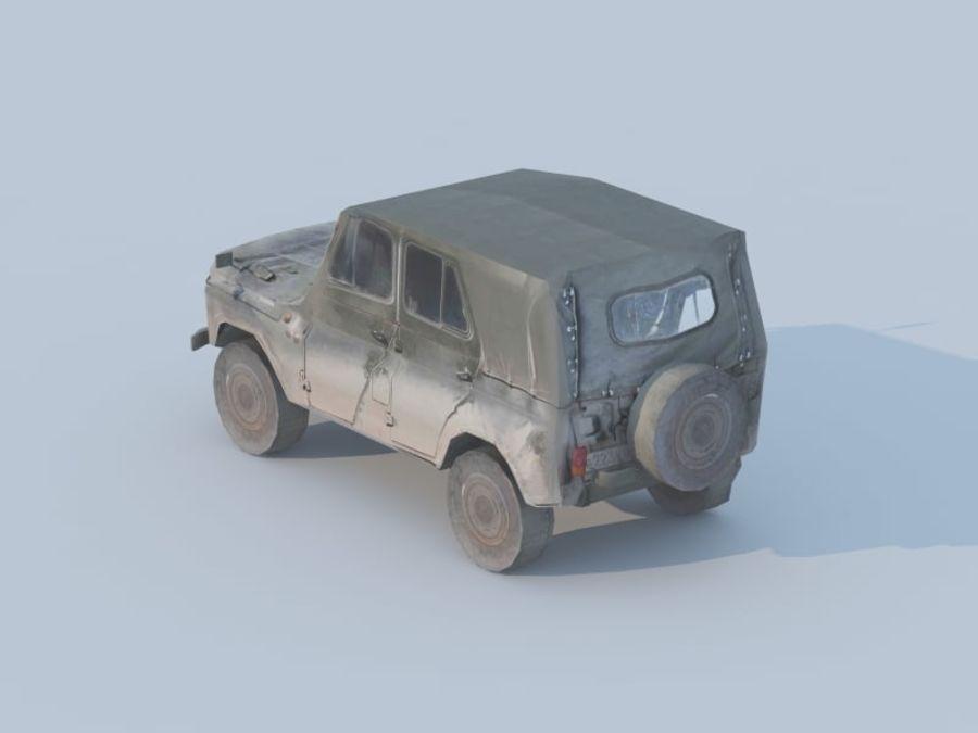 3d UAZ militaire jeep low-poly royalty-free 3d model - Preview no. 2
