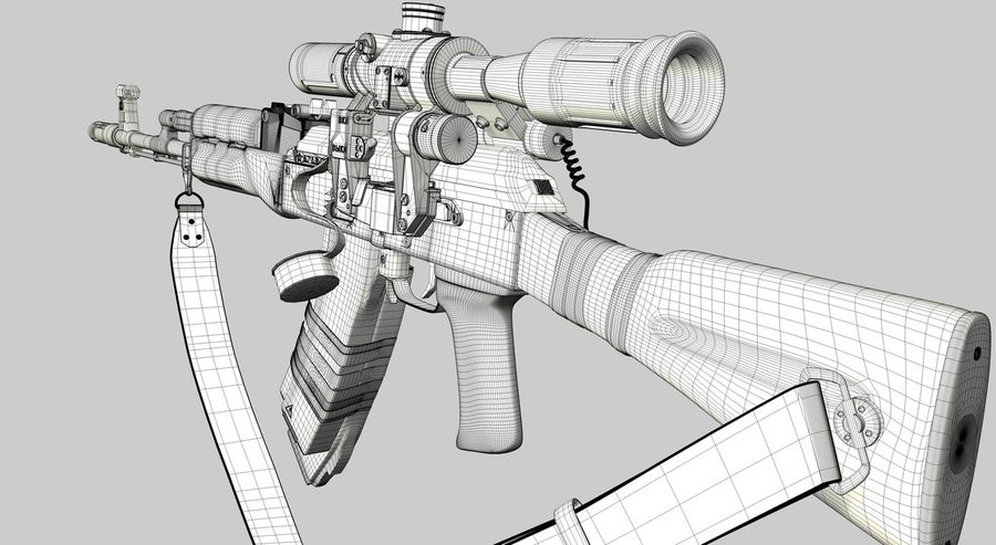 AK 74 royalty-free 3d model - Preview no. 11