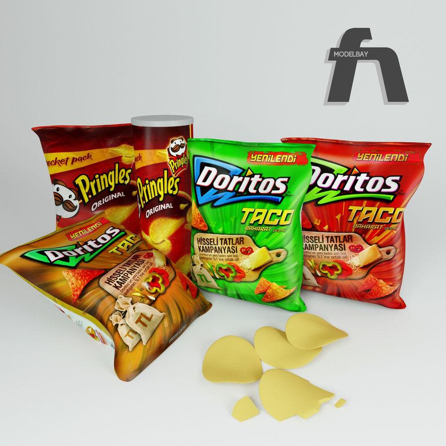 Potato chips royalty-free 3d model - Preview no. 3