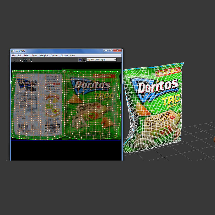 Potato chips royalty-free 3d model - Preview no. 6