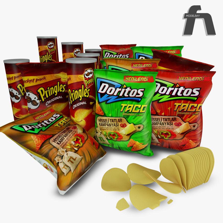 Potato chips royalty-free 3d model - Preview no. 2