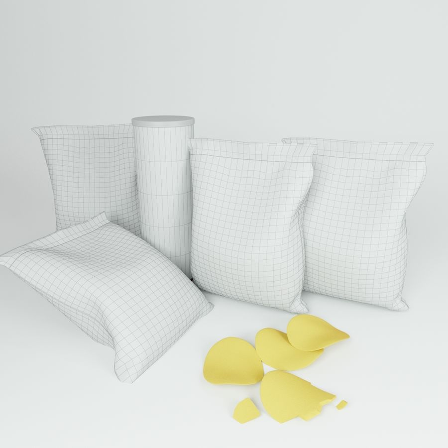 Potato chips royalty-free 3d model - Preview no. 5