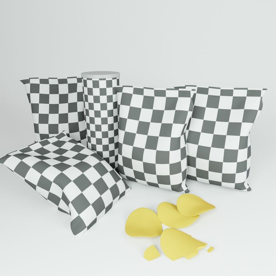 Potato chips royalty-free 3d model - Preview no. 4